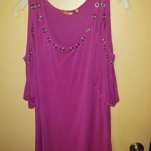 Belladini size 3X pink cold shoulder blouse
